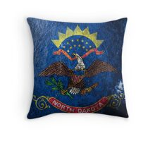 North Dakota Grunge Throw Pillow
