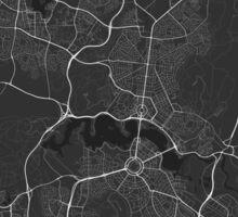 Canberra-Queanbeyan, Australia Map. (White on black) Sticker