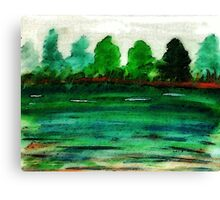 The lake is drying up, watercolor Canvas Print