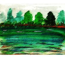 The lake is drying up, watercolor Photographic Print