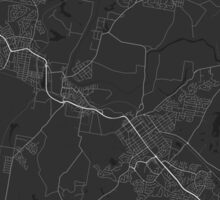 Maitland, Australia Map. (White on black) Sticker
