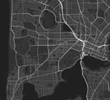 Perth, Australia Map. (White on black) Sticker