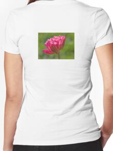 Backlit Fluffy Tulip Women's Fitted V-Neck T-Shirt