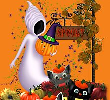 Halloween Cats and the Friendly Ghost by LoneAngel