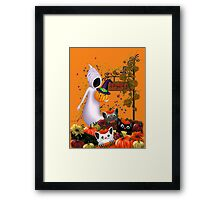 Halloween Cats and the Friendly Ghost Framed Print