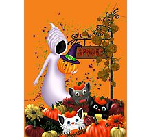 Halloween Cats and the Friendly Ghost Photographic Print