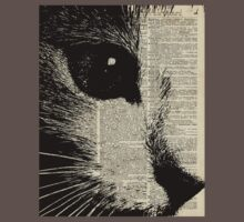 Cute Cat,Lovely Kitten Stencil Over Old Book Page Baby Tee