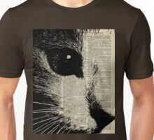 Cute Cat,Lovely Kitten Stencil Over Old Book Page Unisex T-Shirt