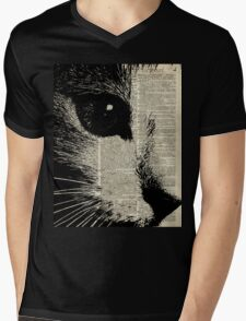 Cute Cat,Lovely Kitten Stencil Over Old Book Page Mens V-Neck T-Shirt