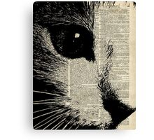 Cute Cat,Lovely Kitten Stencil Over Old Book Page Canvas Print