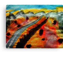 Going thru Owens Lake bed in desert towards Nevada, watercolor Canvas Print