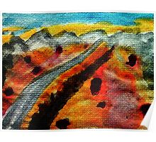 Going thru Owens Lake bed in desert towards Nevada, watercolor Poster