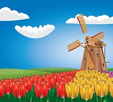 Windmill and Tulips 2 by AnnArtshock