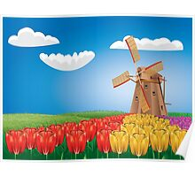 Windmill and Tulips 2 Poster