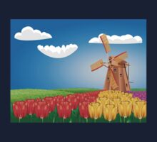 Windmill and Tulips 2 Kids Tee