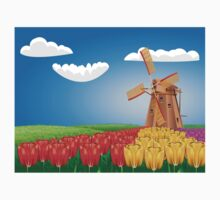 Windmill and Tulips 2 One Piece - Short Sleeve