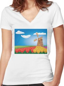 Windmill and Tulips 2 Women's Fitted V-Neck T-Shirt