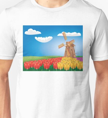 Windmill and Tulips 2 Unisex T-Shirt