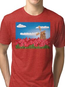 Windmill and Tulips 3 Tri-blend T-Shirt