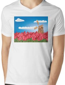 Windmill and Tulips 3 Mens V-Neck T-Shirt