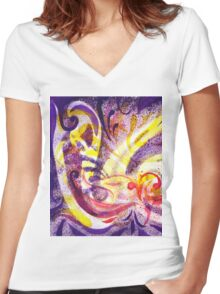French Curve Abstract Movement II Women's Fitted V-Neck T-Shirt