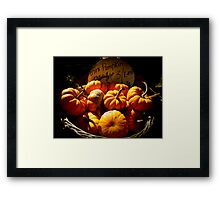 Fall Autumn Harvest Colors - Vignette Photo of Miniature Pumpkins in a Wicker Basket Framed Print