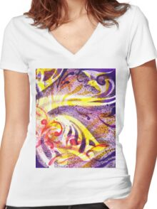 French Curve Abstract Movement IV Women's Fitted V-Neck T-Shirt