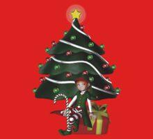 Cute Girl Elf Christmas Tree Holiday Shirt by SmilinEyes