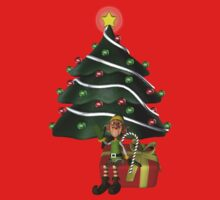 Cute Boy Elf Christmas Tree Holiday Shirt by SmilinEyes