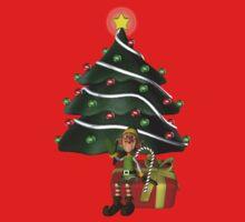 Cute Boy Elf Christmas Tree Holiday Shirt Kids Clothes