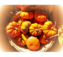 Dreamy Fall Autumn Harvest - Vignette Photo of Small Pumpkins in a Wicker Basket at the Market Photographic Print