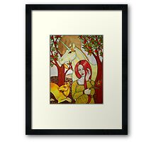 The Maiden and the Unicorn Framed Print