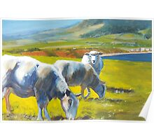Shadowlands (detail) - Acrylic Painting of Sheep on a Cliff Poster