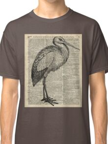 Stork Wild Bird Vintage Ink Illustration Encyclopedia Collage Classic T-Shirt