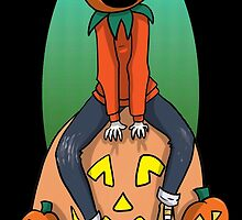 Pumpkin Kid on a Pumpkin Leaf Bag by RedVioletShirts