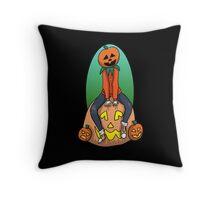 Pumpkin Kid on a Pumpkin Leaf Bag Throw Pillow