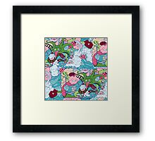 seamless pattern of doodle of crazy sea-life creatures having fun 2 Framed Print