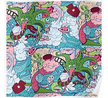 seamless pattern of doodle of crazy sea-life creatures having fun 2 Poster
