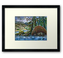 Spinosaurus in the water Framed Print