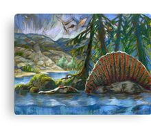 Spinosaurus in the water Canvas Print