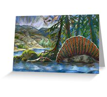 Spinosaurus in the water Greeting Card