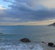 Athens coastline at dusk Sticker