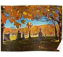 Falling Leaves - Fall Autumn Scenes - Ancient Cemetery Monuments Poster