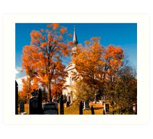 New England Style Church in Fall Autumn Cemetery with Orange Leaves, Trees & Tombstones Art Print