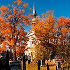 New England Style Church in Fall Autumn Cemetery with Orange Leaves, Trees & Tombstones by Chantal PhotoPix
