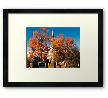 New England Style Church in Fall Autumn Cemetery with Orange Leaves, Trees & Tombstones Framed Print