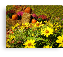 Orange Pumpkins on Hay Bales surrounded by Red Chrysanthemum Flowers & Yellow Daisies Canvas Print