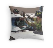 WINDSHIELD OF THIS SUV- HENCE TRUCK IN FENCE Throw Pillow