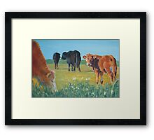 Come On Keep Up - Acrylic Cow and Landscape Painting Framed Print