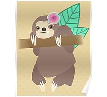 Sloth With Flower Illustration Poster